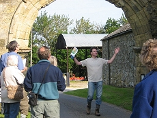 Marcus Jecock describing the  main entrance arch on the  Oldstead-Byland road - click to enlarge