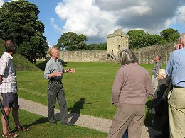 Peter Bleach addressing Members of the Society at Pickering Castle