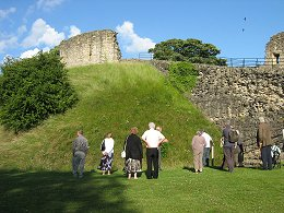 Part of Pickering Castle's motte and two semi-circular baileys